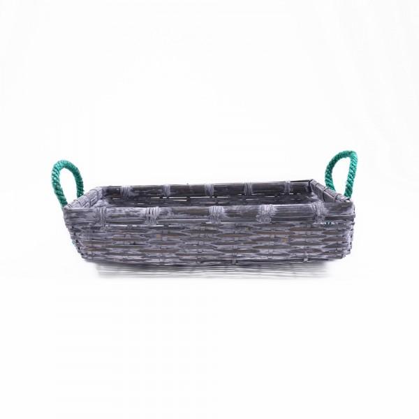 Bambuskorb mit Henkeln, grau, Größe S, L 30 cm, B 38 cm, H 10 cm