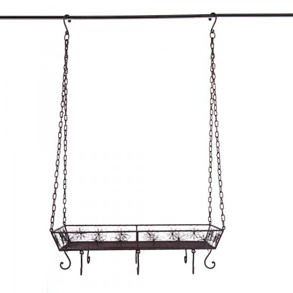 Hängekorb Draht, schwarz, T 60 cm, B 40 cm, H 100 cm