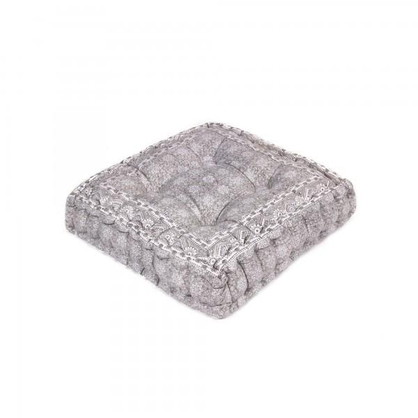 "Sitzkissen ""Bhoora"", grau/weiß, L 40 cm, B 40 cm, H 8 cm"