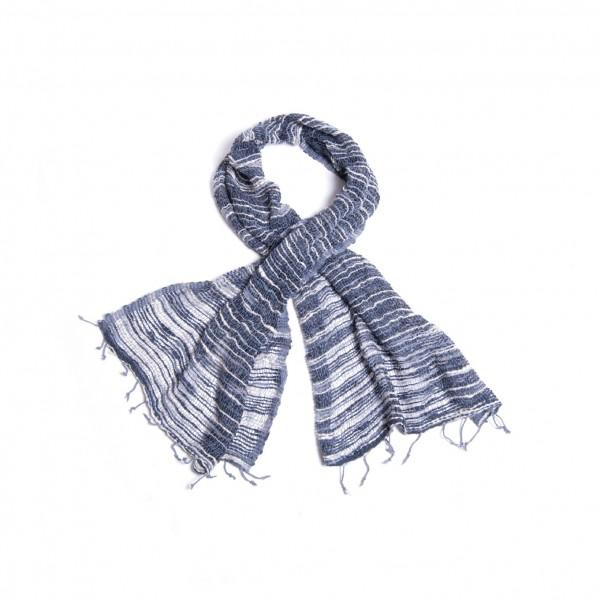 Handgewebter Baumwollschal aus Thailand, blau/weiß, B 50 cm, L 175 cm