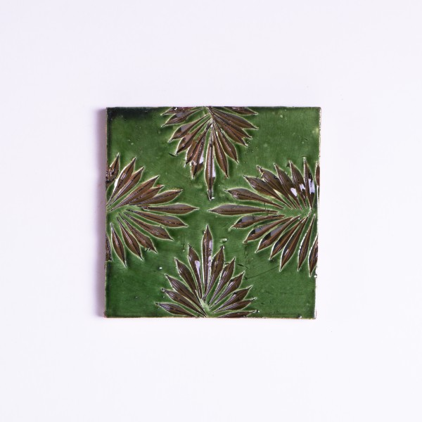 handglasierte Kachel 'Usine vert', grün, L 10 cm, B 10 cm