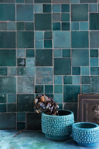 handglasierte Kachel 'turquoise', türkis, L 5 cm, B 5 cm