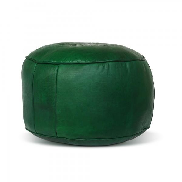 Lederpouf 'Stern' flach, grün, Ø 40 cm, H 24 cm
