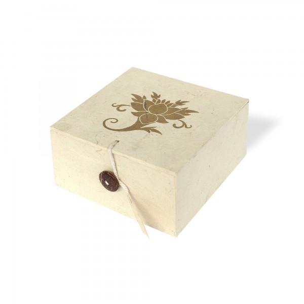 Lokta Box Lotus, weiß, T 11 cm, B 11 cm, H 5,5 cm