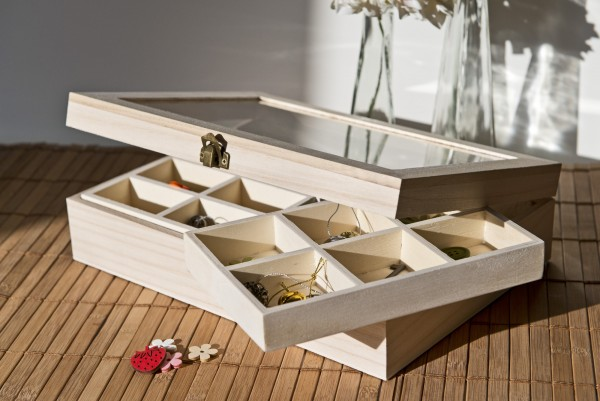 Sortierkasten 'Poitin' mit 24 Sortierboxen, natur, L 21 cm, B 29 cm, H 7 cm