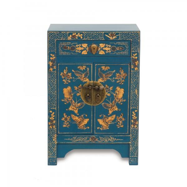 Kommode 'Schmetterling', 1 Schublade, 2 Türen, blau, T 32 cm, B 40 cm, H 60 cm