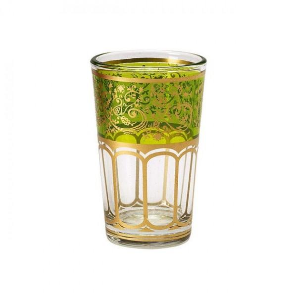 Teeglas mit Brandglasur, grün/gold, H 8,5 cm, Ø 5 cm