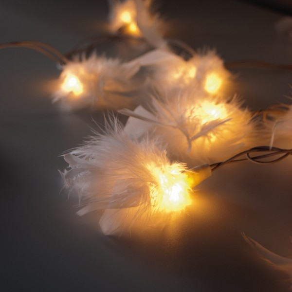 """Lichterkette """"Federn"""", mit 20 Leuchten, weiß, L 315 cm"""