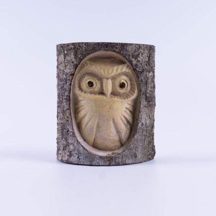 handgeschnitzte Eule in Holzstamm, natur, B 10 cm, H 10 cm