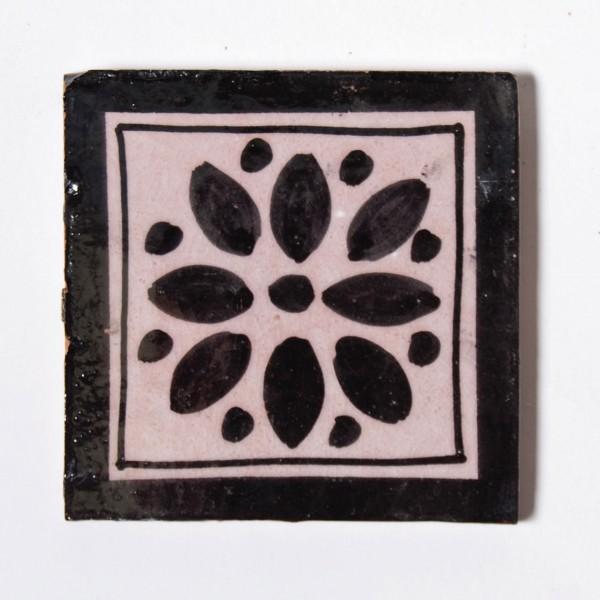 "Fliese ""fleur noir"", schwarz/weiß, L 10 cm, B 10 cm, H 1cm"