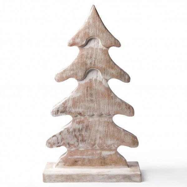Holztanne, natur/weiß, B 27 cm, H 48 cm
