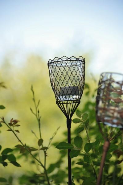 Steckeisen 'Chateauroi', mit Teelichthalter aus Draht und Glaseinsatz, schwarz, H 95 cm