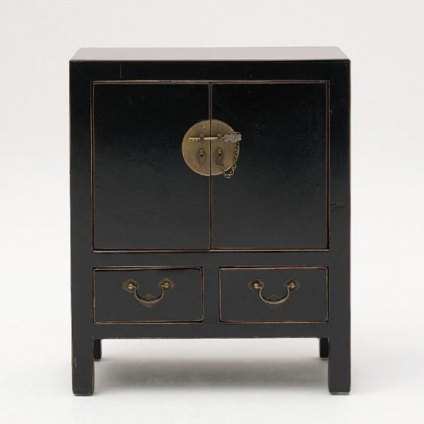 Kommode mit 2 Türen und 2 Schubladen, schwarz, H 61 cm, B 50 cm, T 28 cm