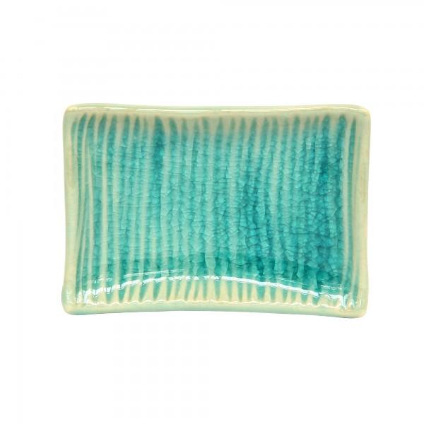 Schale 'Wellen' rechteckig, blau, T 9 cm, B 6 cm, H 2 cm
