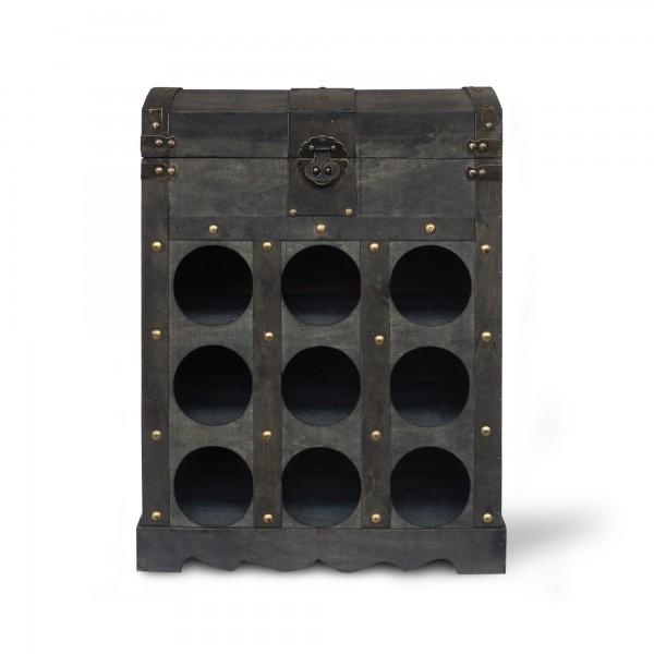 Koffertruhe 'Edo' mit 9er Weinfach, dunkelbraun, T 27 cm, B 41 cm, H 53 cm