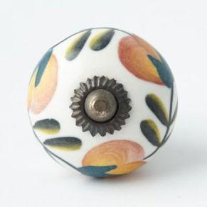 Türknauf rund, weiß mit orange-grüner Verzierung, Ø 4 cm