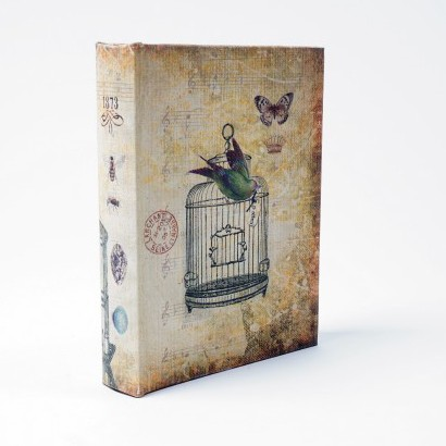 "Buch-Tresor ""Vogelkäfig"", L 4 cm, B 16 cm, H 19 cm"