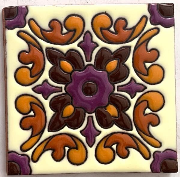 Reliefkachel 'Ornamento', multicolor, T 10 cm, B 10 cm, H 0,5 cm
