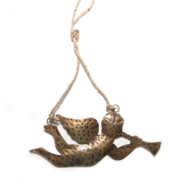 Baumanhänger 'Trompeter' aus Metall L, gold, B 20 cm