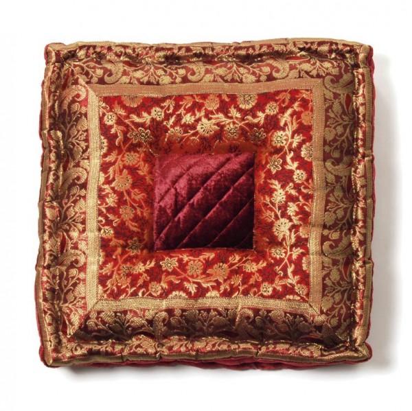 Sitzkissen quadratisch, weinrot/gold, L 40 cm, B 40 cm, H 10 cm