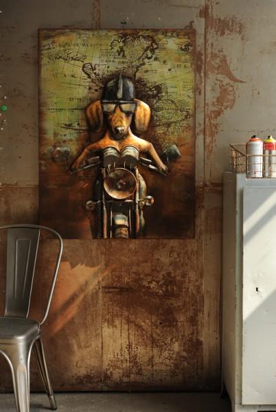 Wandbild 'Hell-Rider' Metall, schwarz, braun, T 7 cm, B 75 cm, H 100 cm