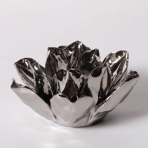 """Teelichthalter """"Rose"""" aus Keramik, silber"""