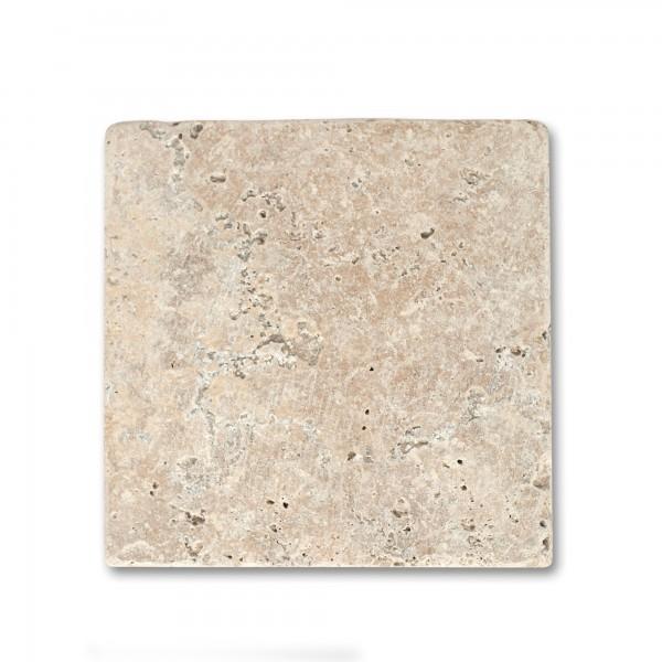 Travertin Steinplatte antik, natur, T 20 cm, B 20 cm, H 1 cm