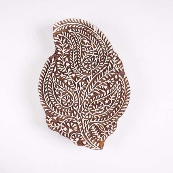 "Holzstempel ""Paisley"", handgeschnitzt, B 16 cm, H 23,5 cm"