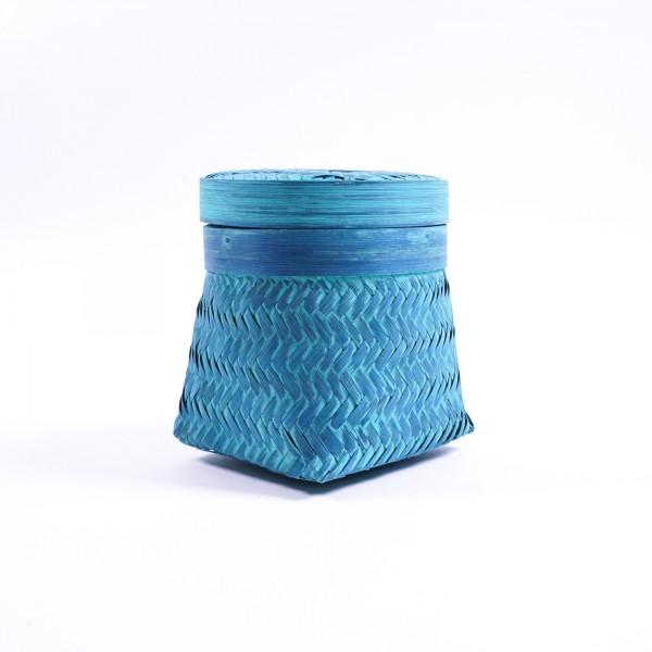 Bambuskorb mit Deckel, türkis, Größe S, Ø 20 cm, H 22 cm