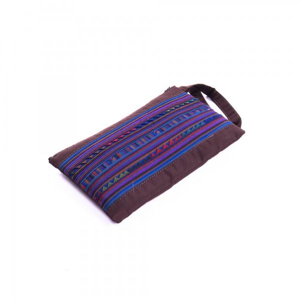 Täschchen mit Reißverschluss, blau/braun, L 18 cm, H 11 cm