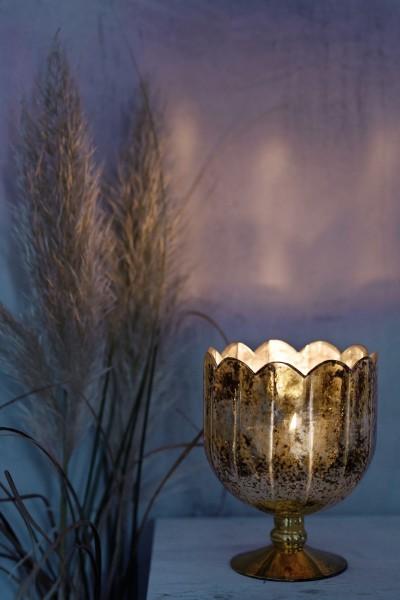 Windlicht 'Chalice', silber, gold, Ø 14,5 cm, H 18 cm