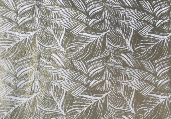 Geschenkpapier Federn, weiß, gold, T 76 cm, B 51 cm