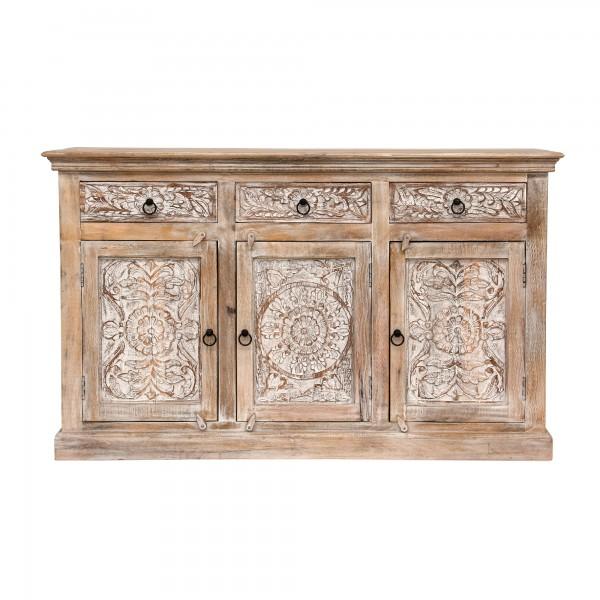 Sideboard 'Germois', natur, weiß gekälkt, T 45 cm, B 150 cm, H 90 cm