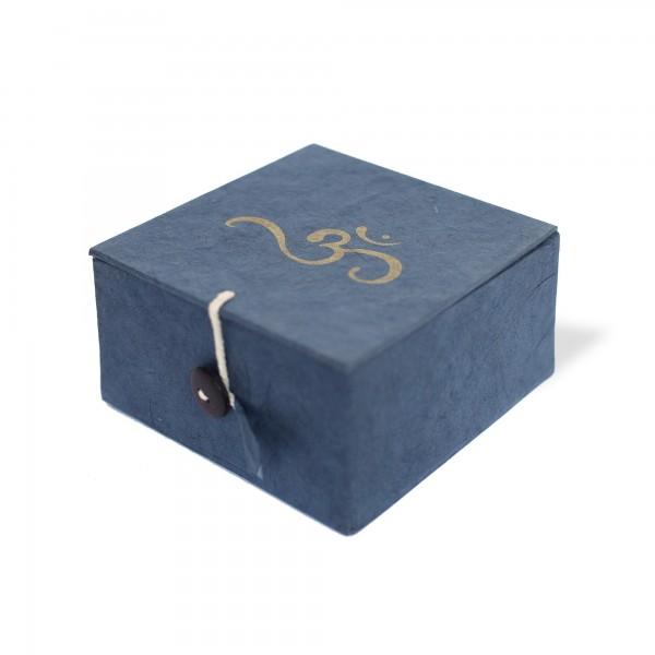 Lokta Box Om, blau, T 11 cm, B 11 cm, H 5,5 cm