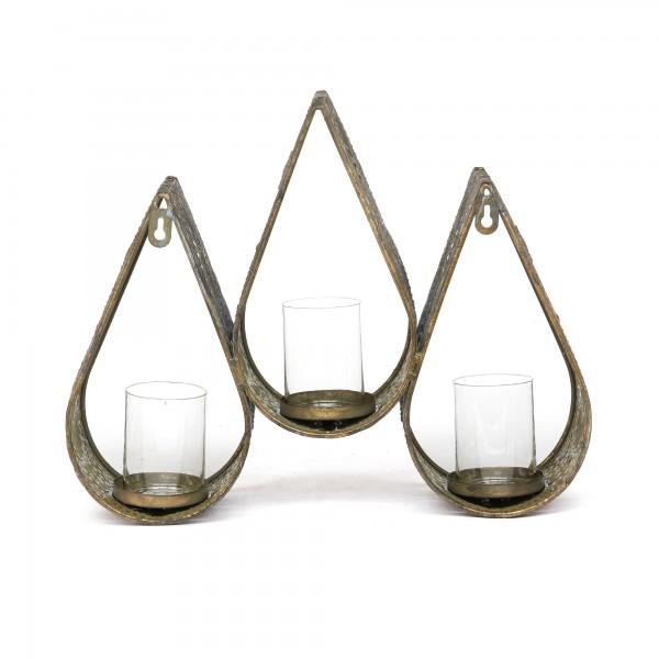 Kerzenwandhalter '3 Kerzen', bronze, T 11 cm, B 36 cm, H 30 cm