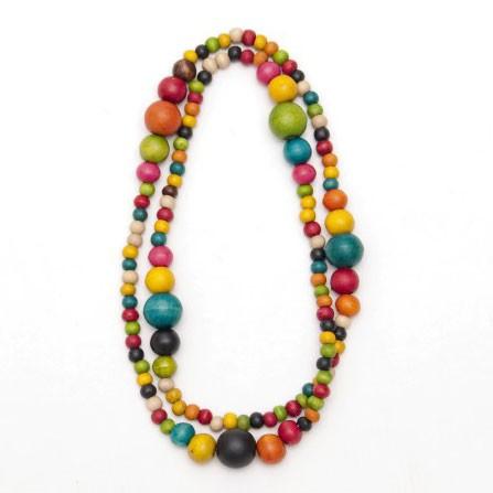 Halskette mit Holzkugeln, multicolor