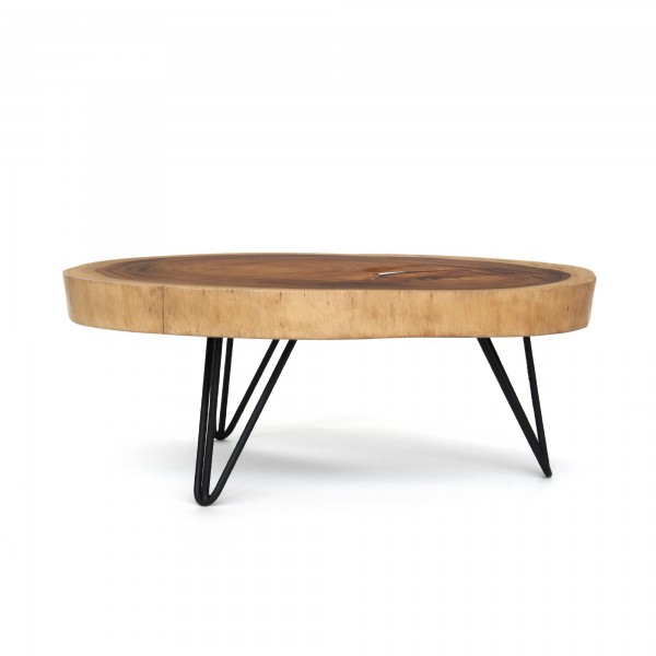 Couchtisch, massive Tischplatte, Akazie, natur, T ca. 80 cm, B ca. 100 cm, H 35 cm