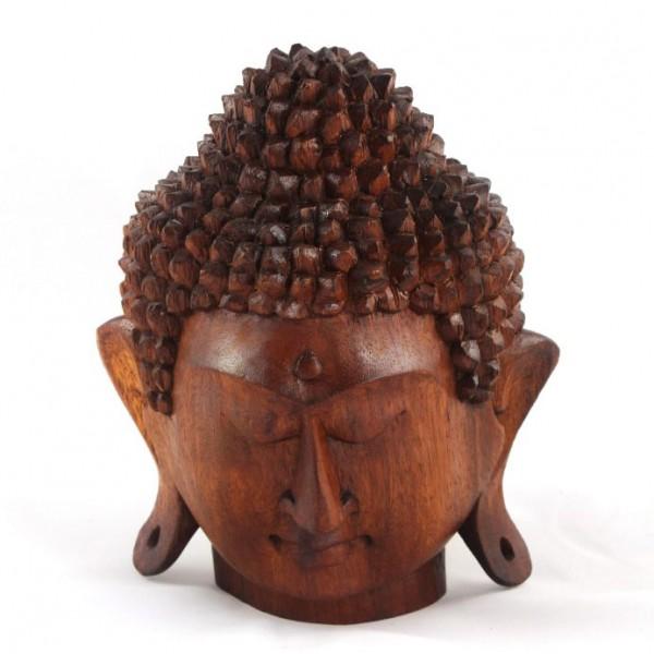 Handgeschnitzter Buddhakopf aus Bali, H 20 cm