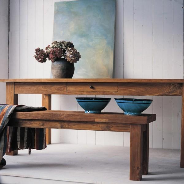 Holztisch aus recyceltem Teak mit durchgehender Schublade, natur, H 76 cm, B 160 cm, T 90 cm