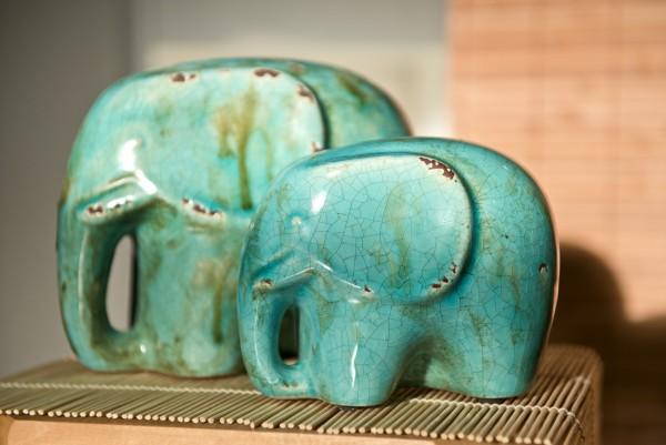 Elefant 'Chinois', blau, L 22,5 cm, B 15 cm, H 17,5 cm