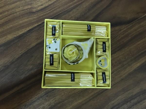 Räucher-Box mit 3 Haltern, gelb, T 16 cm, B 16 cm, H 4 cm