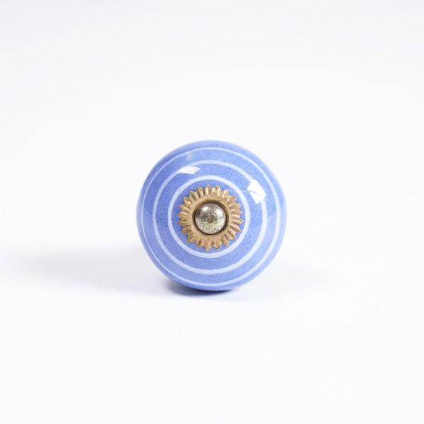 Keramik Möbelknopf, handglasiert, hellblau/weiß, Ø 3,8 cm