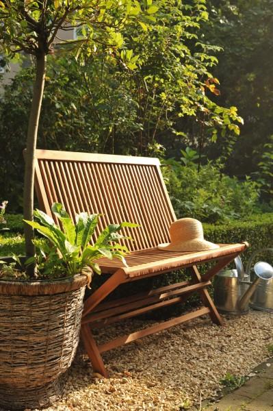 Gartenbank 'Isakson' aus Teakholz, natur, L 60 cm, B 100 cm, H 89 cm