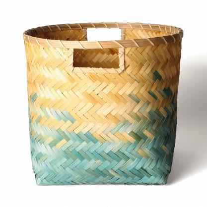 Wäschekorb aus Bambus M, natur/türkis, Ø 33 cm, H 32 cm