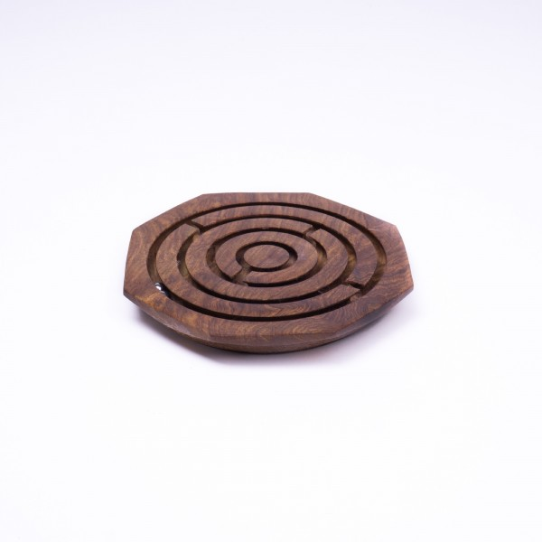 Kugellabyrinth-Spiel aus Palisanderholz, braun, Ø 16 cm