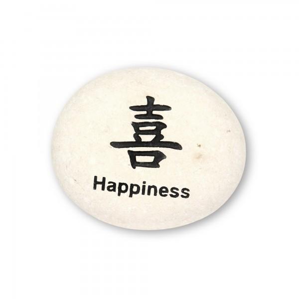 Flusskieselstein 'Happiness', weiß, T 8 cm, B 8 cm