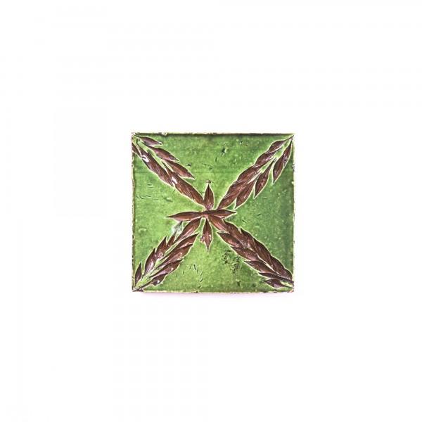 handglasierte Kachel 'Sapin vert', grün, L 10 cm, B 10 cm