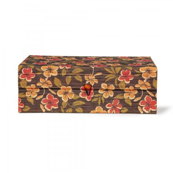 Bambus-Box Blumen L, dunkelbraun, rot, gelb, grün, T 20,5 cm, B 30 cm, H 10,5 cm