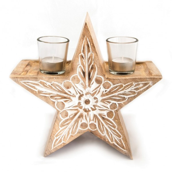 """Teelichthalter """"Woodstar"""" aus Holz mit 2 Gläsern, braun, B 24 cm, H 24 cm"""