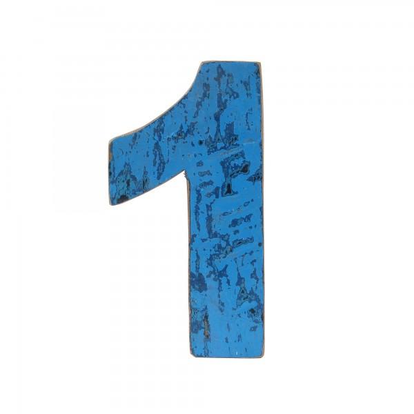 Holzziffer '1', mehrfarbig, T 2,5 cm, B 13 cm, H 19 cm